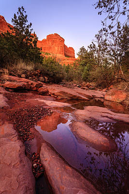 Landscape. Mountain Trees Water Bush Photograph - Creek In Red Rocks by Alexey Stiop