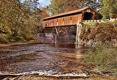 Amish Photograph - Creek Road Covered Bridge by Marcia Colelli