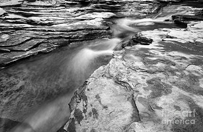 Photograph - Creek Through Rocks Bw by Charline Xia