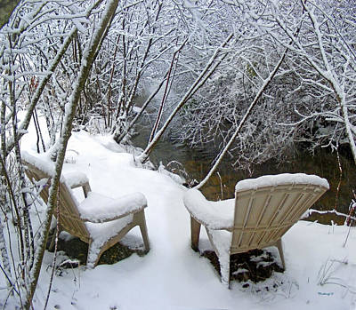 Photograph - Creekside Chairs In The Snow 2 by Duane McCullough