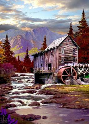 Water Wheel Painting - Creekside Mill by Ron Chambers