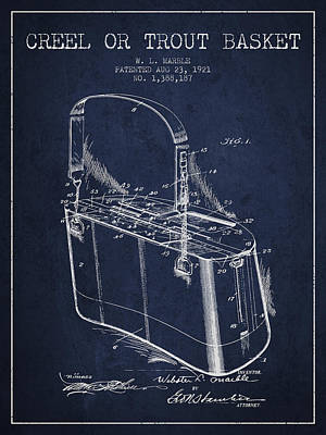 Creel Or Trout Basket Patent From 1921 - Navy Blue Art Print