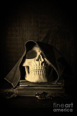 Creepy Hooded Skull Art Print by Edward Fielding