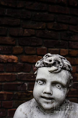 Marble Eyes Photograph - Creepy Marble Boy Garden Statue by Edward Fielding