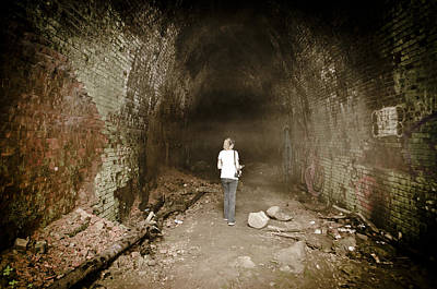 Photograph - Creepy Train Tunnel by Heather Grow