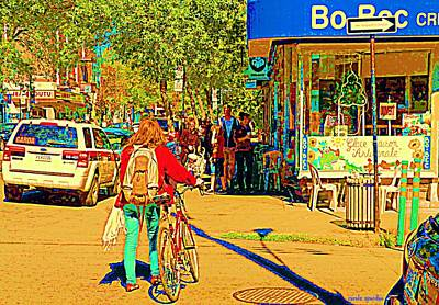 Painting - Creme Glacee Bo Bec Ice Cream Shop Line Up On Laurier Sidewalk Cafe Street Scene Carole Spandau by Carole Spandau