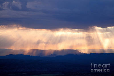 Photograph - Crepuscular Light Rays Just After Sunrise On Sedona Arizona As Seen From Jerome by Ron Chilston