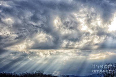 Sun Breaking Through Clouds Photograph - Crepuscular Rays by Thomas R Fletcher