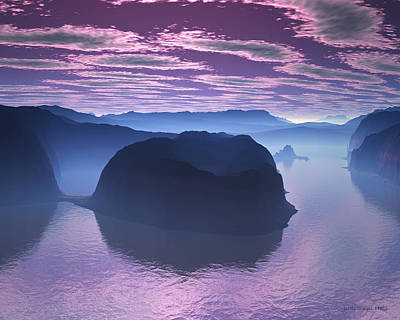 Digital Art - Crescent Bay 2 Alien Landscape by Judi Suni Hall