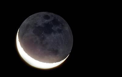 Crescent Moon And Earthshine Art Print by Babak Tafreshi