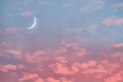 Photograph - Crescent Moon At Sunset by Beth Sawickie