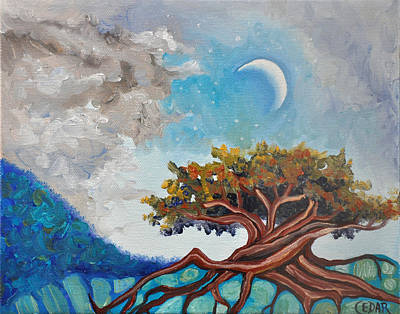 Tree Roots Painting - Crescent Moon by Cedar Lee