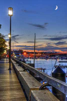 Harbor Scene Wall Art - Photograph - Crescent Moon Over Newburyport Harbor by Joann Vitali