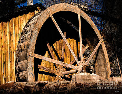 Old Building And Water Wheel Art Print