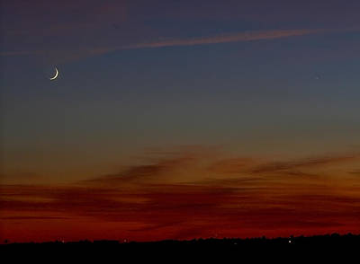 Photograph - Crescent Moonset by Dan Wells