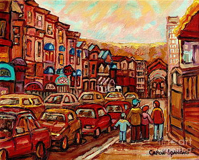 Montreal Street Life Painting - Crescent Street Family Stroll  Montreal City In Autumn City Scene Paintings Carole Spandau by Carole Spandau