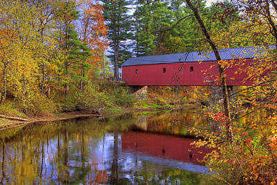 Autumn Scene Photograph - Cresson Covered Bridge 3 by Joann Vitali