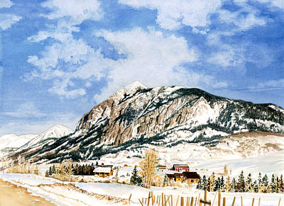 Water Ski Painting - Crested Butte Mountain by Barbara Jewell