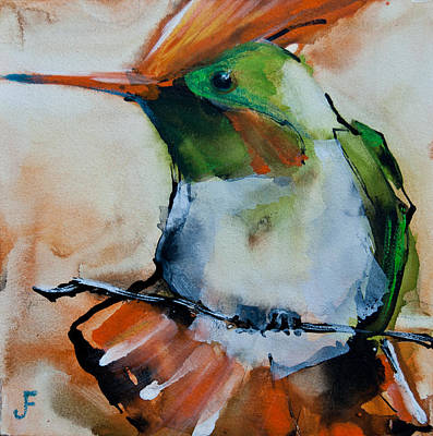 Painting - Crested Croquette Hummingbird by Jani Freimann