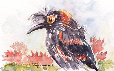Painting - Akohekohe - Hawaiian Crested Honeycreeper by Claudia Hafner