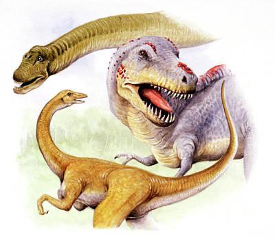 Paleozoology Photograph - Cretaceous Dinosaurs by Deagostini/uig