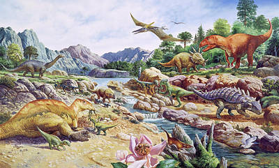 Saltasaurus Wall Art - Photograph - Cretaceous Fauna by Christian Jegou Publiphoto Diffusion/ Science Photo Library