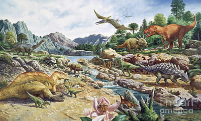 Saltasaurus Wall Art - Photograph - Cretaceous Landscape by Publiphoto