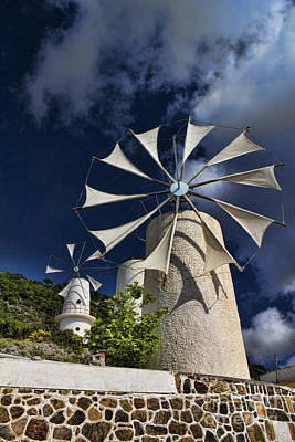 Spinning Photograph - Creton Windmills by David Smith