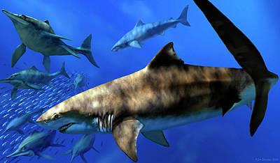 Cretoxyrhina Prehistoric Sharks Art Print by Jaime Chirinos