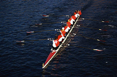 Crew Boat At Head Of Charles Regatta Art Print by Panoramic Images