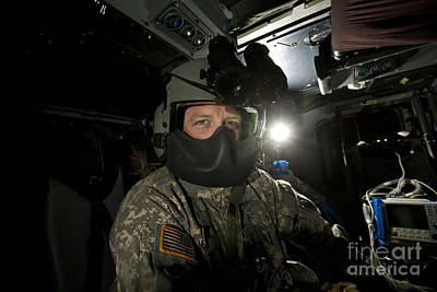 Crew Chief In A Uh-60 Black Hawk Print by Terry Moore