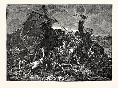 Medusa Drawing - Crew Of The Medusa On The Raft by English School