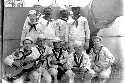 Photograph - Crewmen Of U. S. Battleship Texas Pose For Photo Cuba 1898  by California Views Archives Mr Pat Hathaway Archives