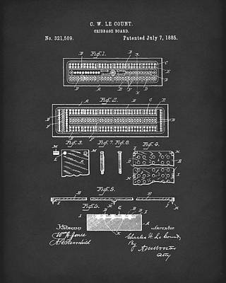 Drawing - Cribbage Board 1885 Patent Art Black by Prior Art Design