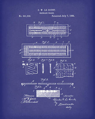 Drawing - Cribbage Board 1885 Patent Art Blue by Prior Art Design