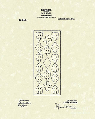 Cribs Drawing - Cribbage Board 1912 Patent Art by Prior Art Design