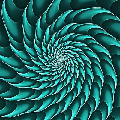 Digital Art - Cricca Nut Vortex Turquoise by Doug Morgan