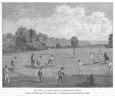 Cricket Drawing - Cricket Being Played At The  Royal by Mary Evans Picture Library