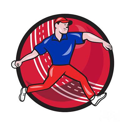 Cricket Bowler Bowling Ball Cartoon Art Print by Aloysius Patrimonio