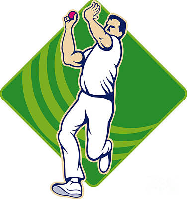Cricket Bowler Bowling Ball Front Art Print by Aloysius Patrimonio