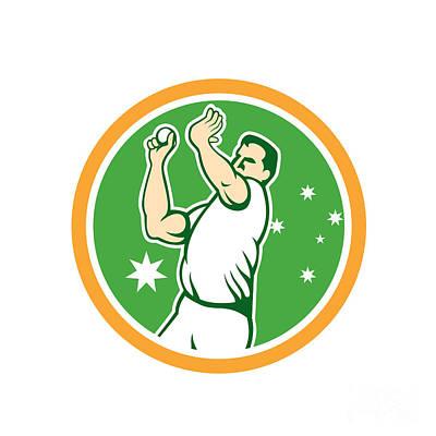 Cricket Fast Bowler Bowling Ball Circle Cartoon Art Print by Aloysius Patrimonio