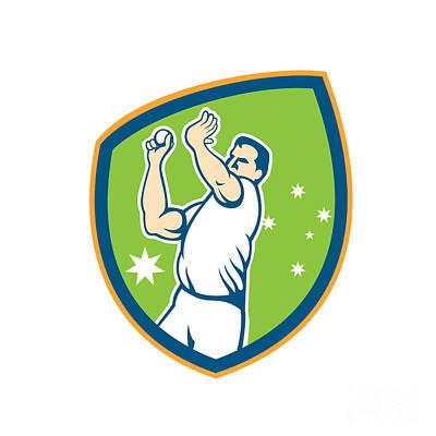 Cricket Fast Bowler Bowling Ball Shield Cartoon Art Print by Aloysius Patrimonio
