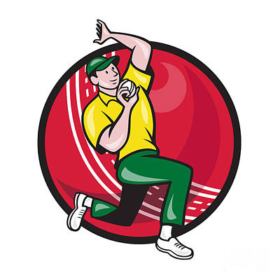 Cricket Fast Bowler Bowling Ball Side Art Print