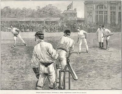 Cricket Drawing - Cricket Match At Lords Between by  Illustrated London News Ltd/Mar
