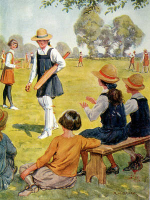 Cricket Drawing - Cricket Played At A Girl's  School by Mary Evans Picture Library