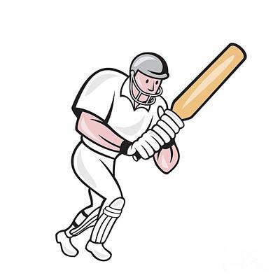 Batsman Digital Art - Cricket Player Batsman Batting Cartoon by Aloysius Patrimonio