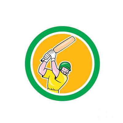 Cricket Player Batsman Batting Circle Cartoon Art Print