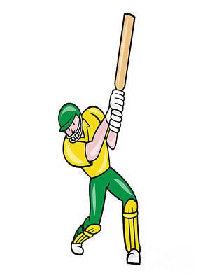 Cricket Player Batsman Batting Front Cartoon Isolated Art Print by Aloysius Patrimonio