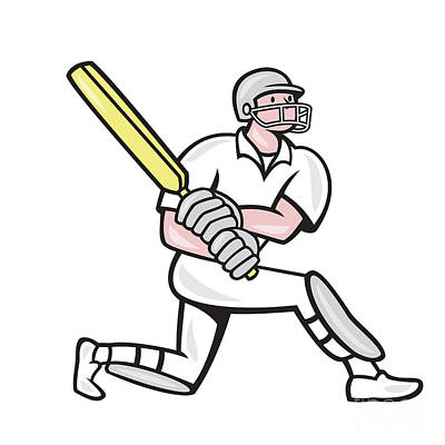 Batsman Digital Art - Cricket Player Batsman Batting Kneel Cartoon by Aloysius Patrimonio
