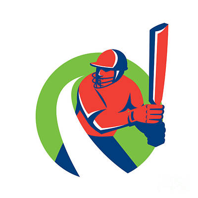 Batsman Digital Art - Cricket Player Batsman Batting Retro by Aloysius Patrimonio